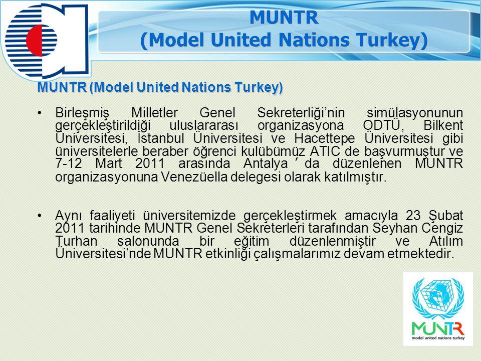 MUNTR (Model United Nations Turkey) Birleşmiş Milletler Genel Sekreterliği'nin simülasyonunun gerçekleştirildiği uluslararası organizasyona ODTÜ, Bilk
