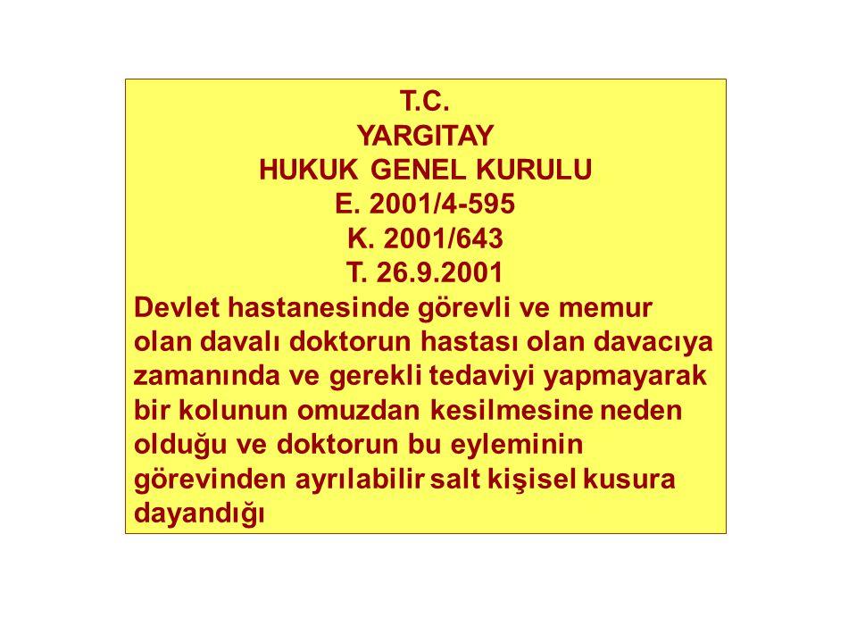 T.C. YARGITAY HUKUK GENEL KURULU E. 2001/4-595 K. 2001/643 T. 26.9.2001 Devlet hastanesinde görevli ve memur olan davalı doktorun hastası olan davacıy