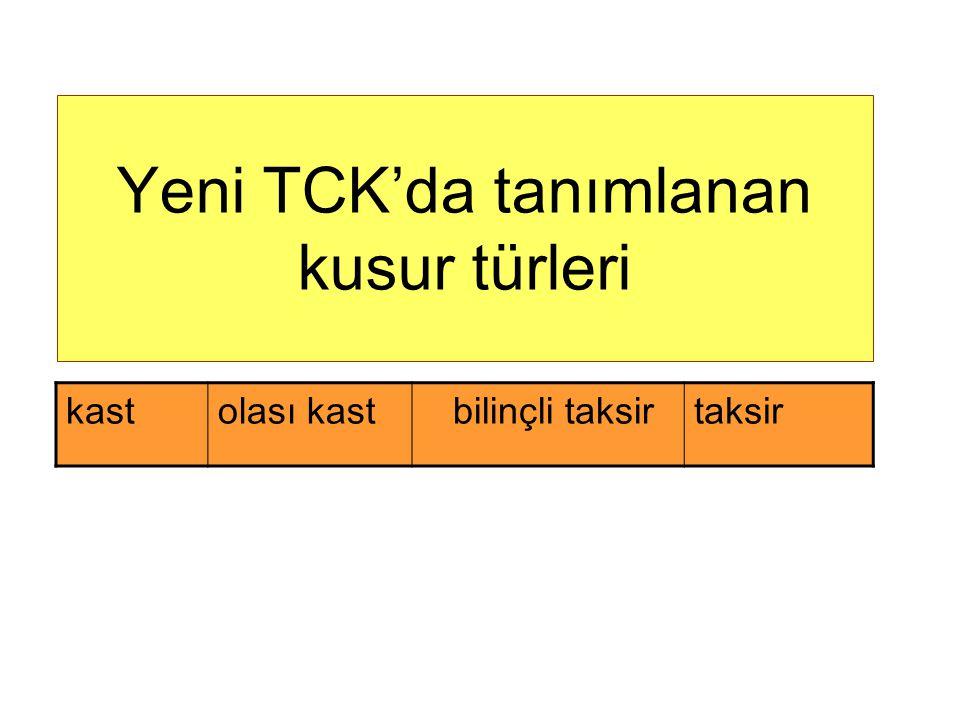 Yeni TCK'da tanımlanan kusur türleri kastolası kast bilinçli taksirtaksir