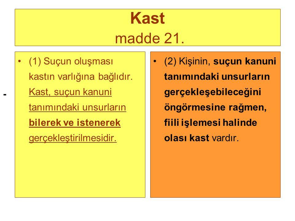 - Kast madde 21. (1) Suçun oluşması kastın varlığına bağlıdır. Kast, suçun kanuni tanımındaki unsurların bilerek ve istenerek gerçekleştirilmesidir. (