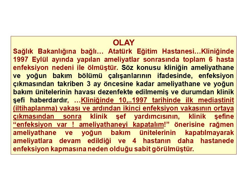 OLAY Sağlık Bakanlığına bağlı… Atatürk Eğitim Hastanesi…Kliniğinde 1997 Eylül ayında yapılan ameliyatlar sonrasında toplam 6 hasta enfeksiyon nedeni i