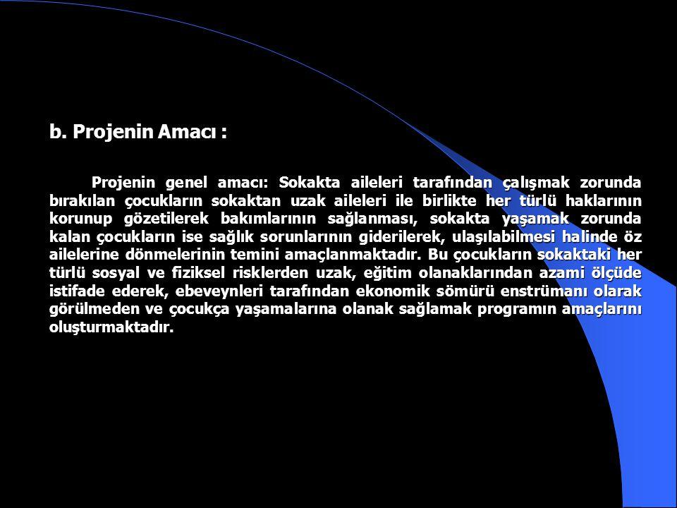 SOKAKTA YAŞAYAN VE ÇALIŞTIRILAN ÇOCUKLARIN KORUNMASI PROJESİ a. Projenin Gerekçesi : İstanbul İli yoğun göç alan, nüfus yoğunluğunun yüksek olduğu, ön