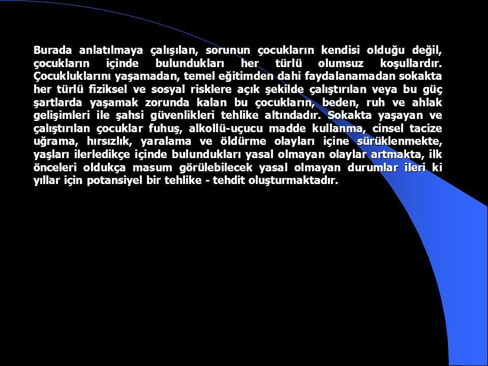 Uygulama Planı ve Talimatı (2000/1 Sayılı Güvenlik Kararı) a. Başlangıç: İstanbul Valiliğinin ''Sokakta Yaşayan veya Sokakta Çalıştırılan Çocukların K