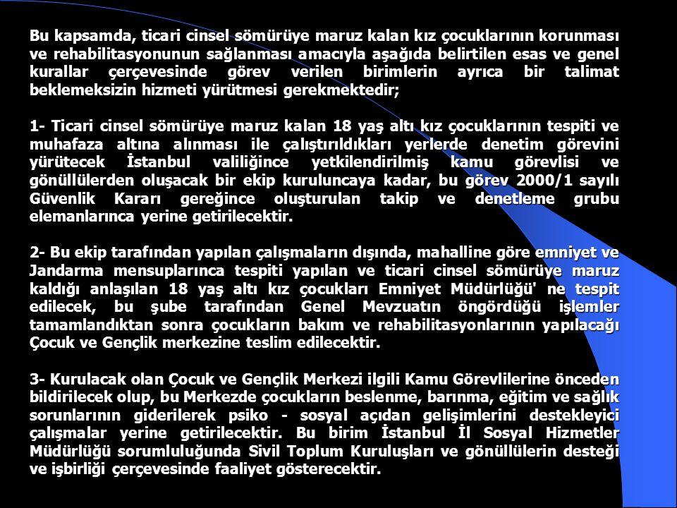 2000/1 SAYILI GÜVENLİK KARARI EK TALİMATI İstanbul Valiliğince Sokakta Yaşayan ve Sokakta Çalıştırılan Çocukların Korunması Suretiyle Kamu Esenliğinin Sağlanması İle İlgili Güvenlik Kararı 19.08.2000 tarih ve 24145 sayılı Resmi Gazete de yayınlanarak yürürlüğe girmiş, İstanbul Valiliğinin 04.09.2000 tarihli Uygulama Plan ve Talimatı ile birlikte görev verilenlerce konuyla ilgili çalışmalara ivedi olarak başlanmıştır.