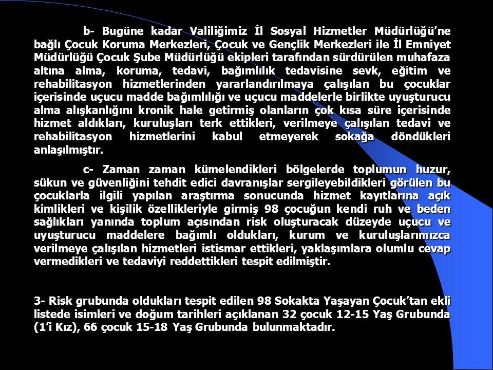 MADDE BAĞIMLISI SOKAKTA YAŞAYAN ÇOCUKLAR İstanbul Valiliğinin 09.08.2000 tarih ve 2000/1 Sayılı Sokakta Yaşayan ve çalıştırılan Çocukların Korunması Suretiyle Kamu Esenliğinin sağlanması ile İlgili Güvenlik Kararı ve bu kararın uygulanmasına ilişkin Uygulama Planı ve Talimatı doğrultusunda İl Sosyal Hizmetler Müdürlüğü, İl Emniyet Müdürlüğü, İl Jandarma Komutanlığı ve kendilerine Valiliğimizce görev verilen kuruluşlar ile Sivil Toplum Kuruluşlarınca bu güne kadar sürdürülen çalışmalar sonucunda; 1- Sokakta çalıştırılan 5154 Erkek+934 Kız olmak üzere toplam 6088 çocuğa hizmet verildiği, 2- Çeşitli nedenlerle yaşamak için sokağı mekan haline getirmiş Sokakta Yaşayan 1506 çocuğa hizmet verildiği İl Sosyal Hizmetler Müdürlüğü ve İl Emniyet Müdürlüğü kayıtlarından anlaşılmıştır.
