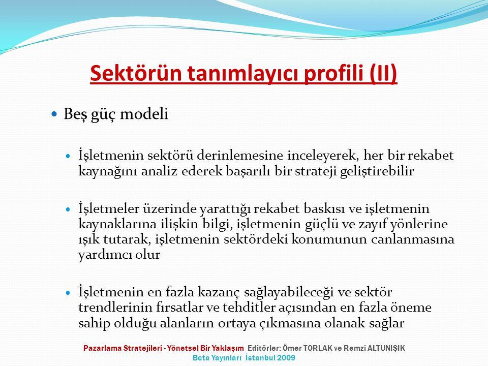 Sektörün tanımlayıcı profili (II) Beş güç modeli İşletmenin sektörü derinlemesine inceleyerek, her bir rekabet kaynağını analiz ederek başarılı bir st