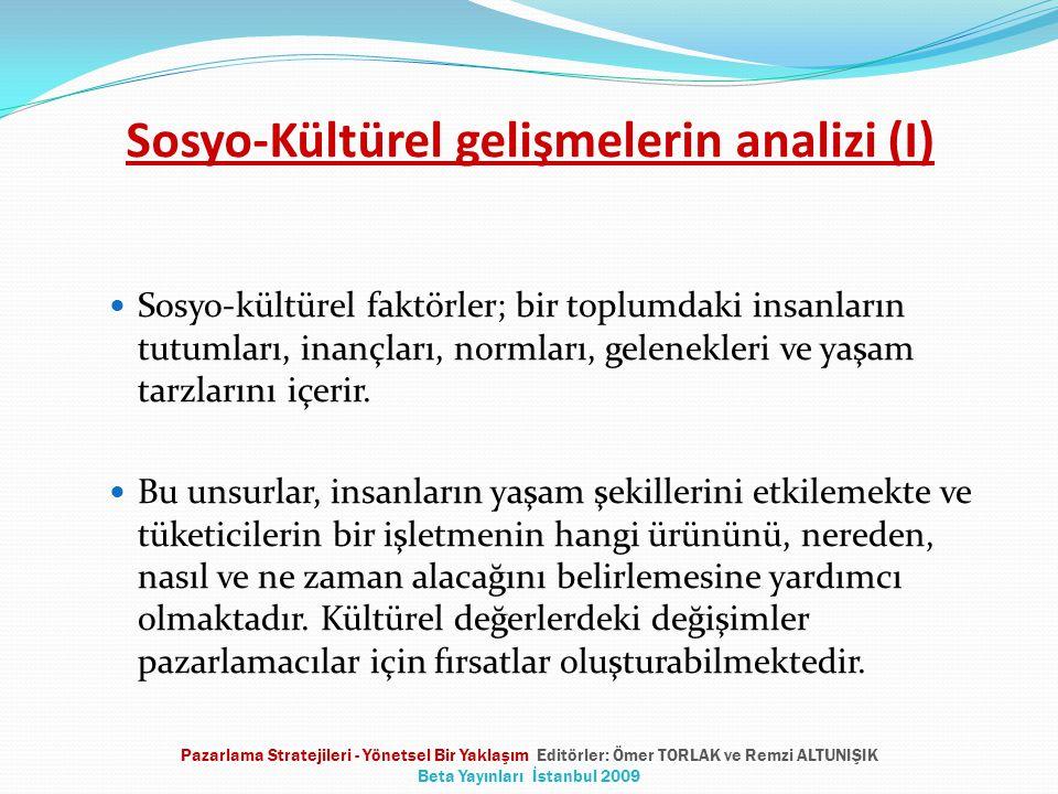 Sosyo-Kültürel gelişmelerin analizi (I) Sosyo-kültürel faktörler; bir toplumdaki insanların tutumları, inançları, normları, gelenekleri ve yaşam tarzl