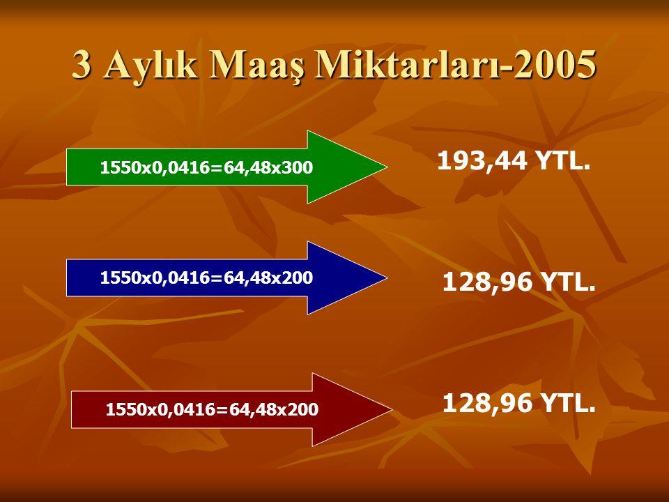 3 Aylık Maaş Miktarları-2005 1550x0,0416=64,48x300 193,44 YTL. 1550x0,0416=64,48x200 128,96 YTL.