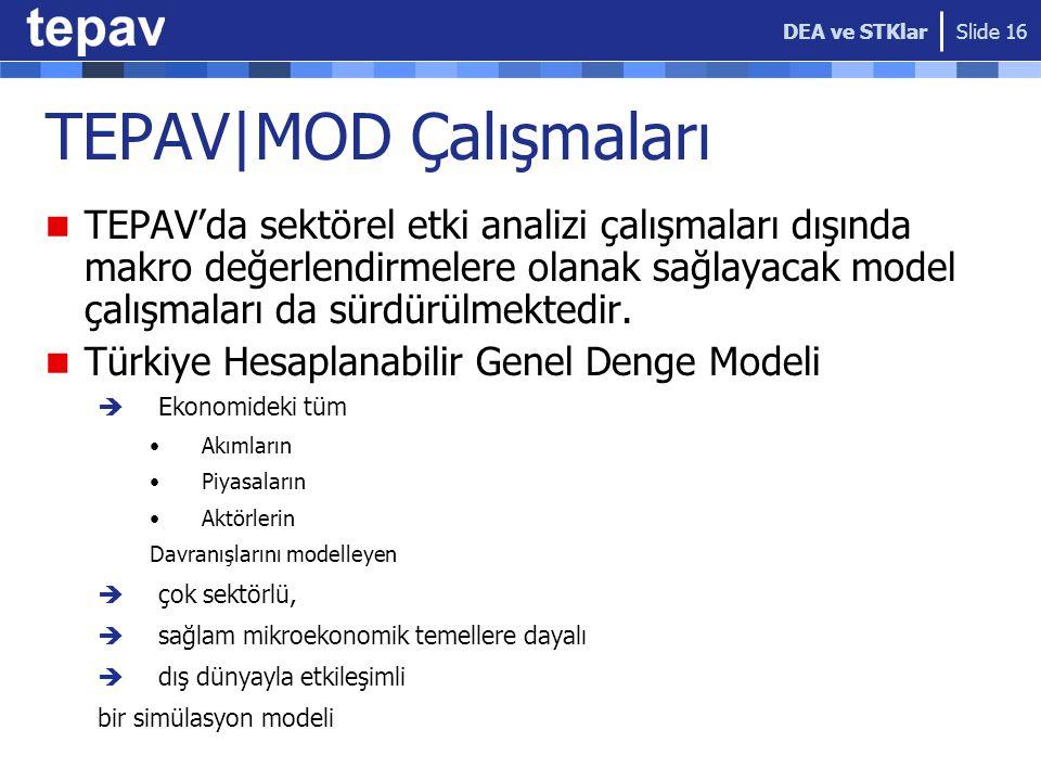TEPAV|MOD Çalışmaları TEPAV'da sektörel etki analizi çalışmaları dışında makro değerlendirmelere olanak sağlayacak model çalışmaları da sürdürülmekted