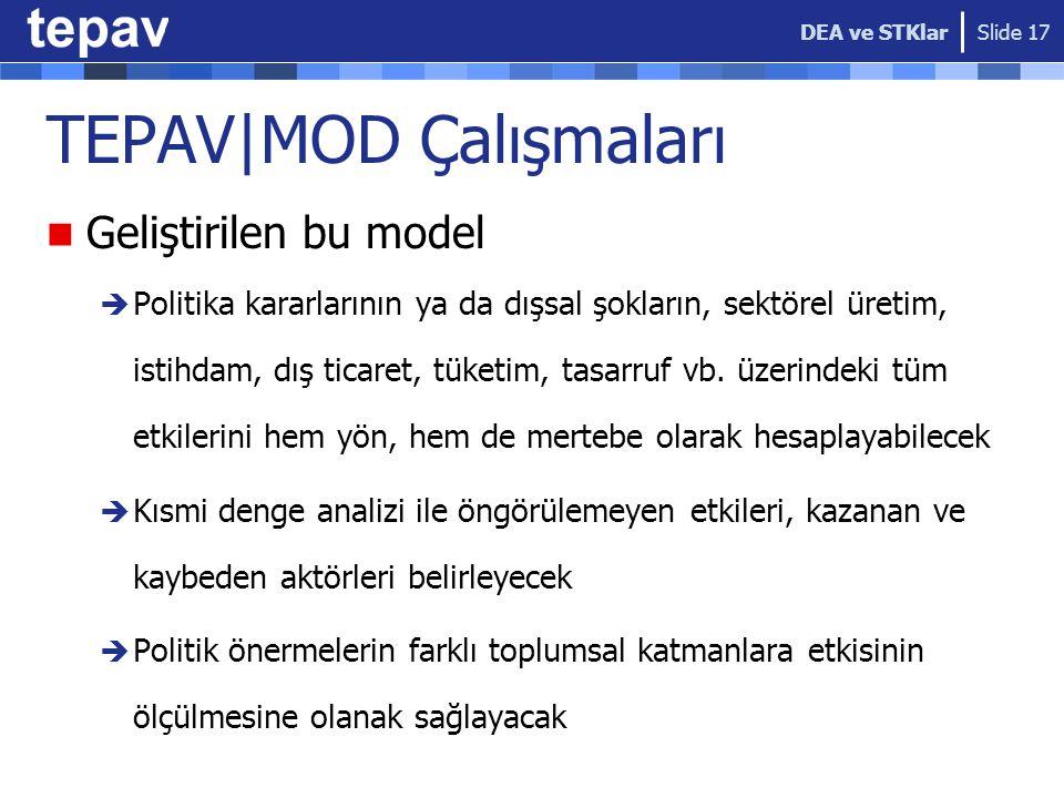 TEPAV|MOD Çalışmaları Geliştirilen bu model  Politika kararlarının ya da dışsal şokların, sektörel üretim, istihdam, dış ticaret, tüketim, tasarruf v