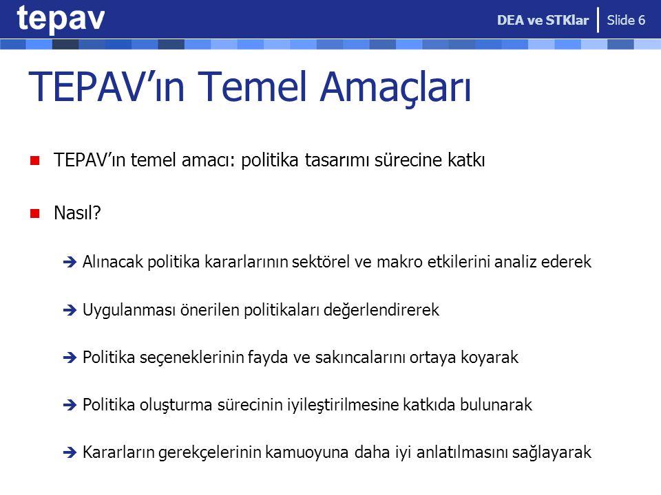 TEPAV'ın Temel Amaçları TEPAV'ın temel amacı: politika tasarımı sürecine katkı Nasıl?  Alınacak politika kararlarının sektörel ve makro etkilerini an