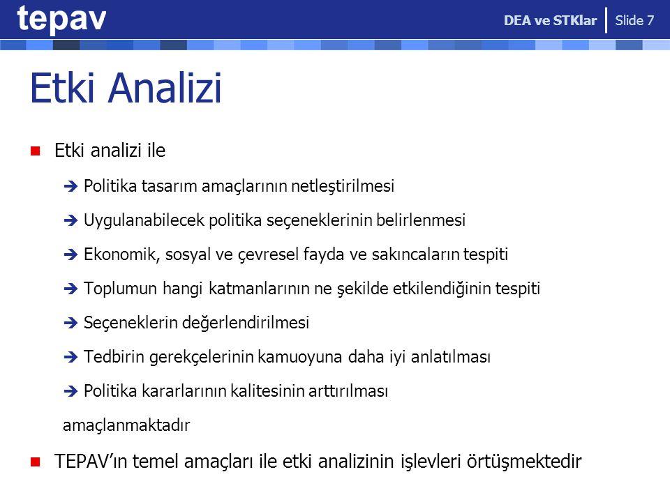 Etki Analizi Etki analizi ile  Politika tasarım amaçlarının netleştirilmesi  Uygulanabilecek politika seçeneklerinin belirlenmesi  Ekonomik, sosyal