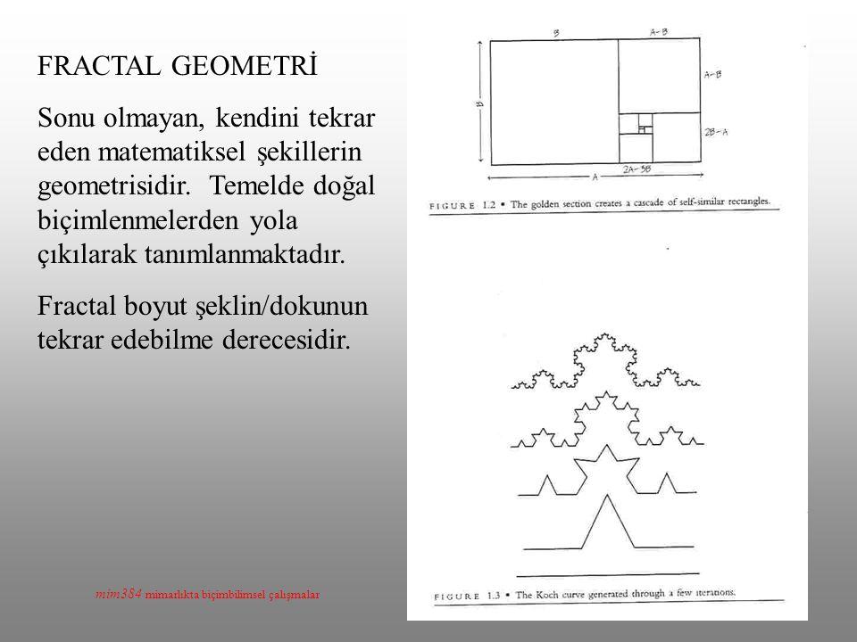 mim384 mimarlıkta biçimbilimsel çalışmalar FRACTAL GEOMETRİ Sonu olmayan, kendini tekrar eden matematiksel şekillerin geometrisidir. Temelde doğal biç