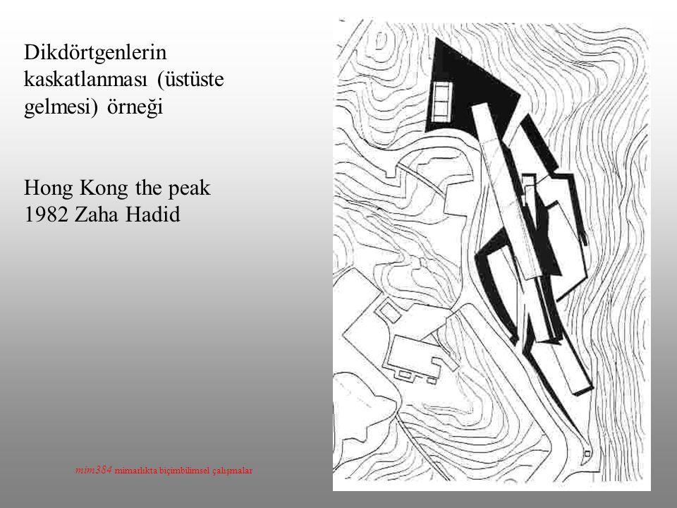 mim384 mimarlıkta biçimbilimsel çalışmalar Dikdörtgenlerin kaskatlanması (üstüste gelmesi) örneği Hong Kong the peak 1982 Zaha Hadid