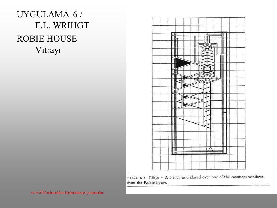 mim384 mimarlıkta biçimbilimsel çalışmalar UYGULAMA 6 / F.L. WRIHGT ROBIE HOUSE Vitrayı