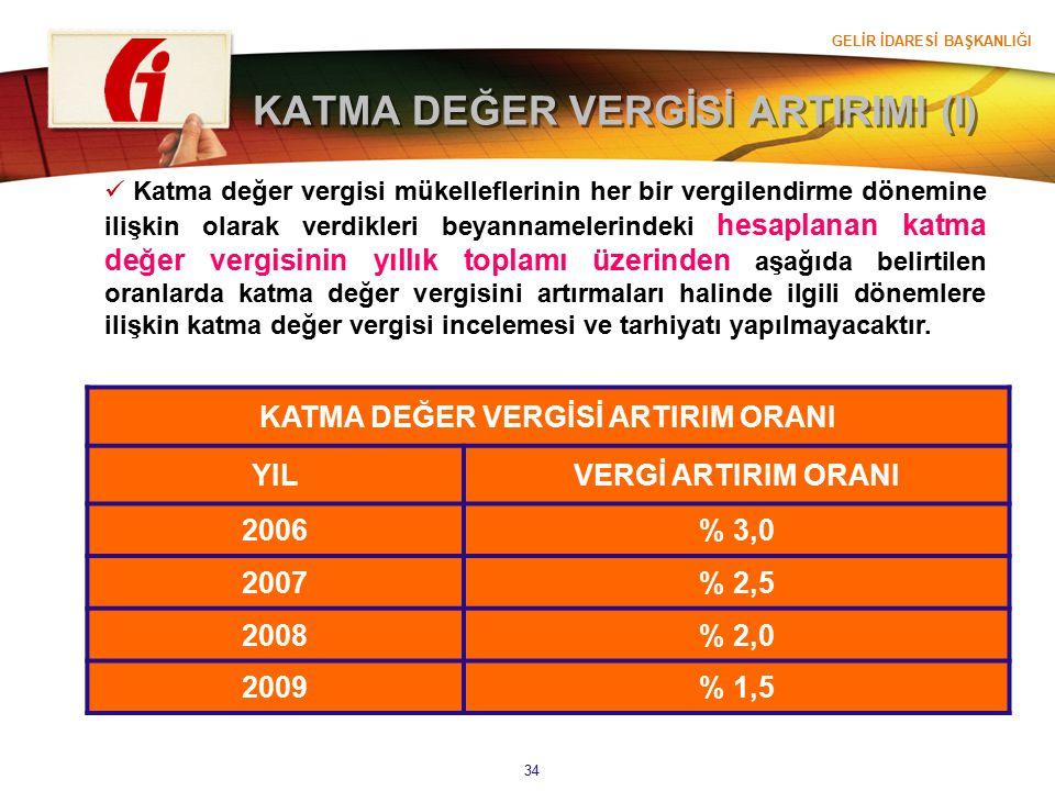 GELİR İDARESİ BAŞKANLIĞI 34 KATMA DEĞER VERGİSİ ARTIRIMI (I) Katma değer vergisi mükelleflerinin her bir vergilendirme dönemine ilişkin olarak verdikl