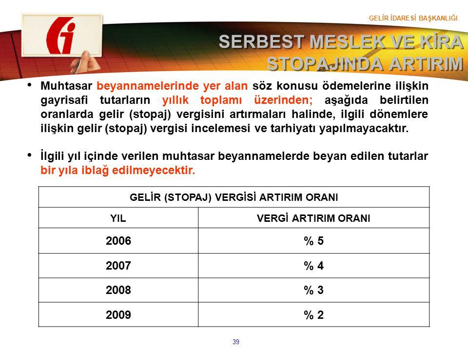 GELİR İDARESİ BAŞKANLIĞI 39 SERBEST MESLEK VE KİRA STOPAJINDA ARTIRIM GELİR (STOPAJ) VERGİSİ ARTIRIM ORANI YILVERGİ ARTIRIM ORANI 2006% 5 2007% 4 2008