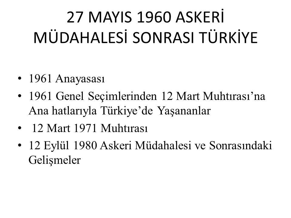 27 MAYIS 1960 ASKERİ MÜDAHALESİ SONRASI TÜRKİYE 1961 Anayasası 1961 Genel Seçimlerinden 12 Mart Muhtırası'na Ana hatlarıyla Türkiye'de Yaşananlar 12 M