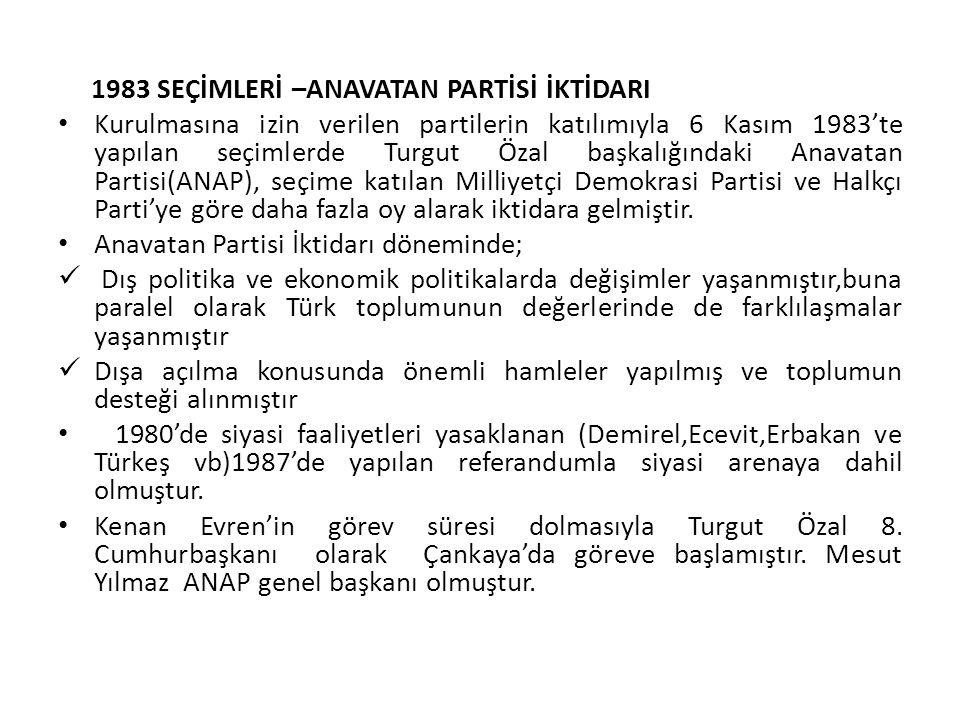 1983 SEÇİMLERİ –ANAVATAN PARTİSİ İKTİDARI Kurulmasına izin verilen partilerin katılımıyla 6 Kasım 1983'te yapılan seçimlerde Turgut Özal başkalığındak