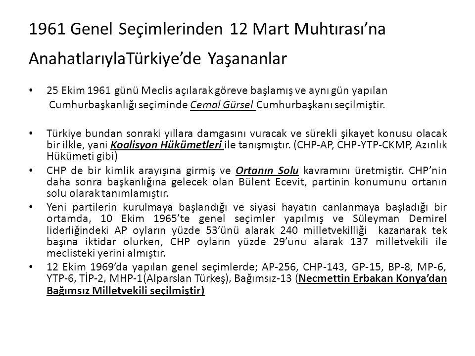1961 Genel Seçimlerinden 12 Mart Muhtırası'na AnahatlarıylaTürkiye'de Yaşananlar 25 Ekim 1961 günü Meclis açılarak göreve başlamış ve aynı gün yapılan