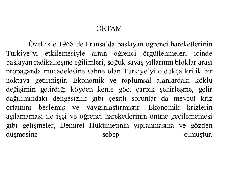 12 Mart 1971 Muhtırası AP Başkanı Süleyman Demirel'in Başbakanlığı ve Cevdet Sunay'ın Cumhurbaşkanlığı dönemine denk gelen 12 Mart Muhtırası, emir komuta zinciri çerçevesinde Memduh Tağmaç, Faruk Gürler, Muhsin Batur ve diğer komuta kademesi önderliğinde ordu tarafından yayınlanmıştır.