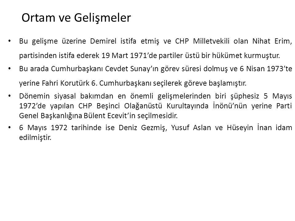 Ortam ve Gelişmeler Bu gelişme üzerine Demirel istifa etmiş ve CHP Milletvekili olan Nihat Erim, partisinden istifa ederek 19 Mart 1971'de partiler üs