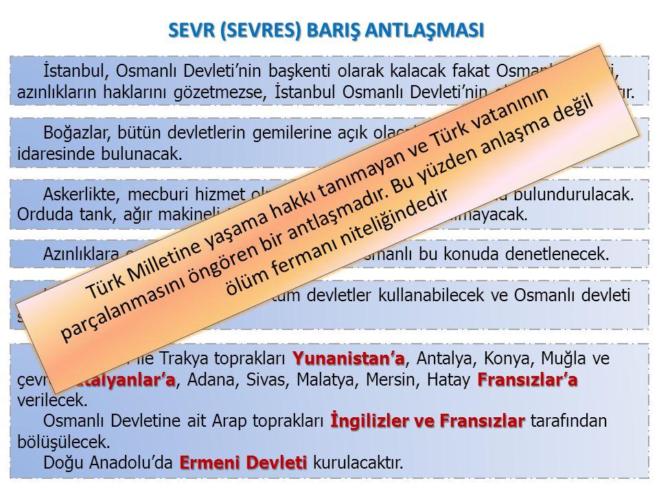 SANREMO KONFERANSI (18-26 NİSAN 1920) Tevfik Paşa antlaşmayı imzalamayınca; Yunanlılar; Yunanlılar; Batı Trakya, Balıkesir ve Bursa'yı, İngilizler; İn