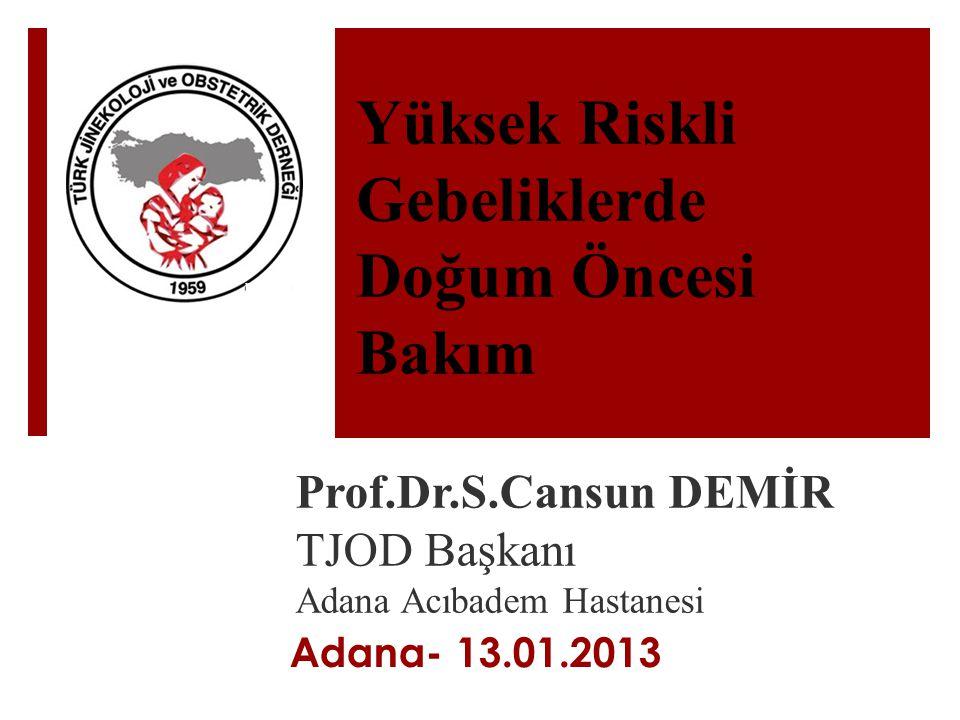 Yüksek Riskli Gebeliklerde Doğum Öncesi Bakım Prof.Dr.S.Cansun DEMİR TJOD Başkanı Adana Acıbadem Hastanesi Adana- 13.01.2013