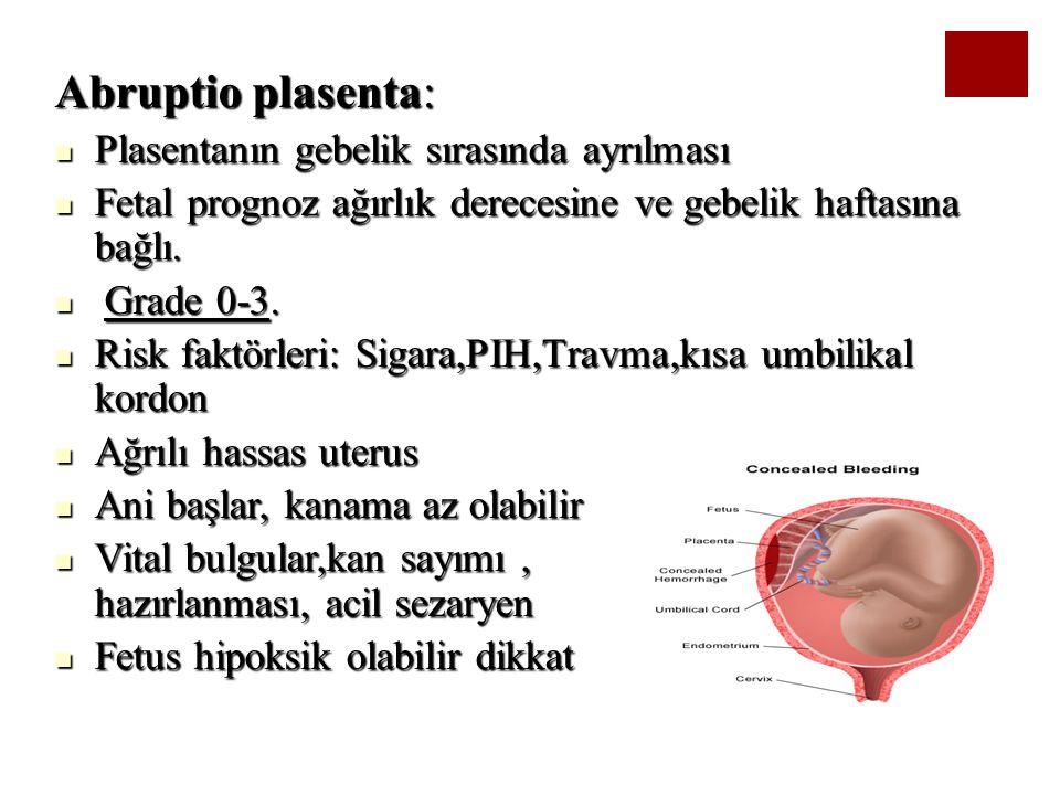Abruptio plasenta: Plasentanın gebelik sırasında ayrılması Plasentanın gebelik sırasında ayrılması Fetal prognoz ağırlık derecesine ve gebelik haftası