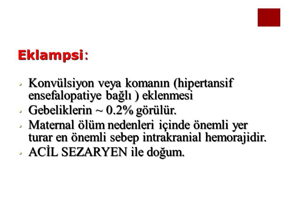Eklampsi: Konvülsiyon veya komanın (hipertansif ensefalopatiye bağlı ) eklenmesi Konvülsiyon veya komanın (hipertansif ensefalopatiye bağlı ) eklenmes
