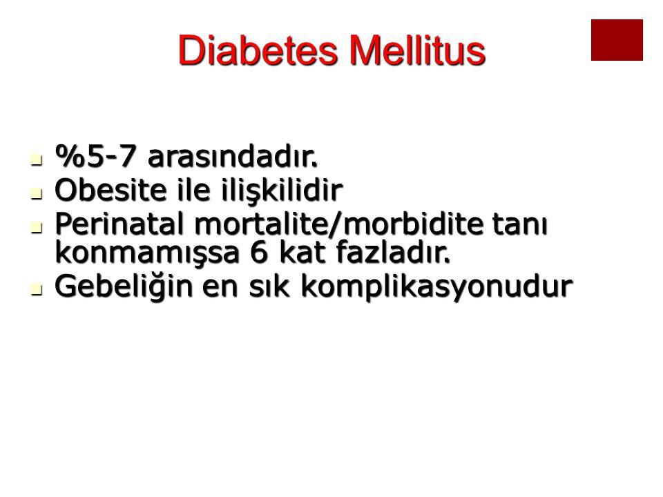 Diabetes Mellitus %5-7 arasındadır. %5-7 arasındadır. Obesite ile ilişkilidir Obesite ile ilişkilidir Perinatal mortalite/morbidite tanı konmamışsa 6