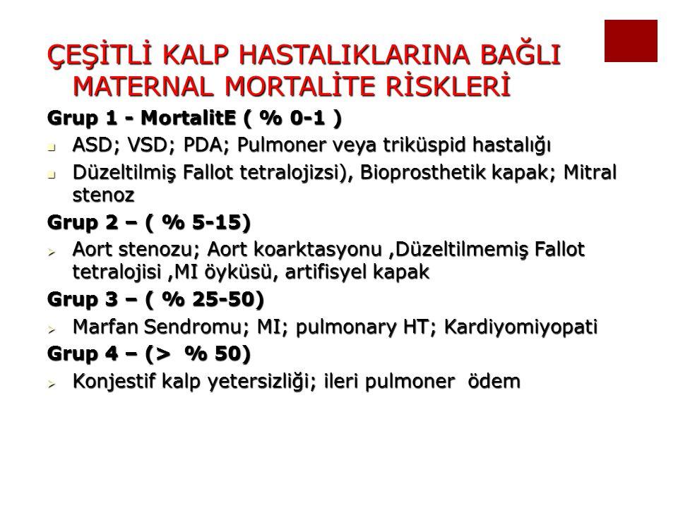 ÇEŞİTLİ KALP HASTALIKLARINA BAĞLI MATERNAL MORTALİTE RİSKLERİ Grup 1 - MortalitE ( % 0-1 ) ASD; VSD; PDA; Pulmoner veya triküspid hastalığı ASD; VSD;