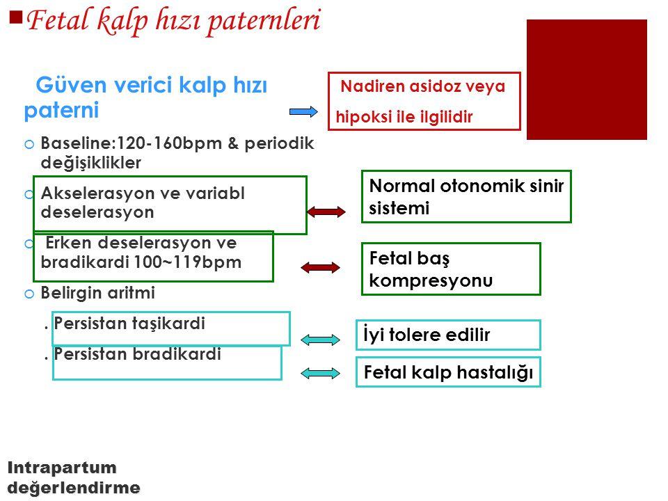  Fetal kalp hızı paternleri Güven verici kalp hızı paterni o Baseline:120-160bpm & periodik değişiklikler o Akselerasyon ve variabl deselerasyon o Er