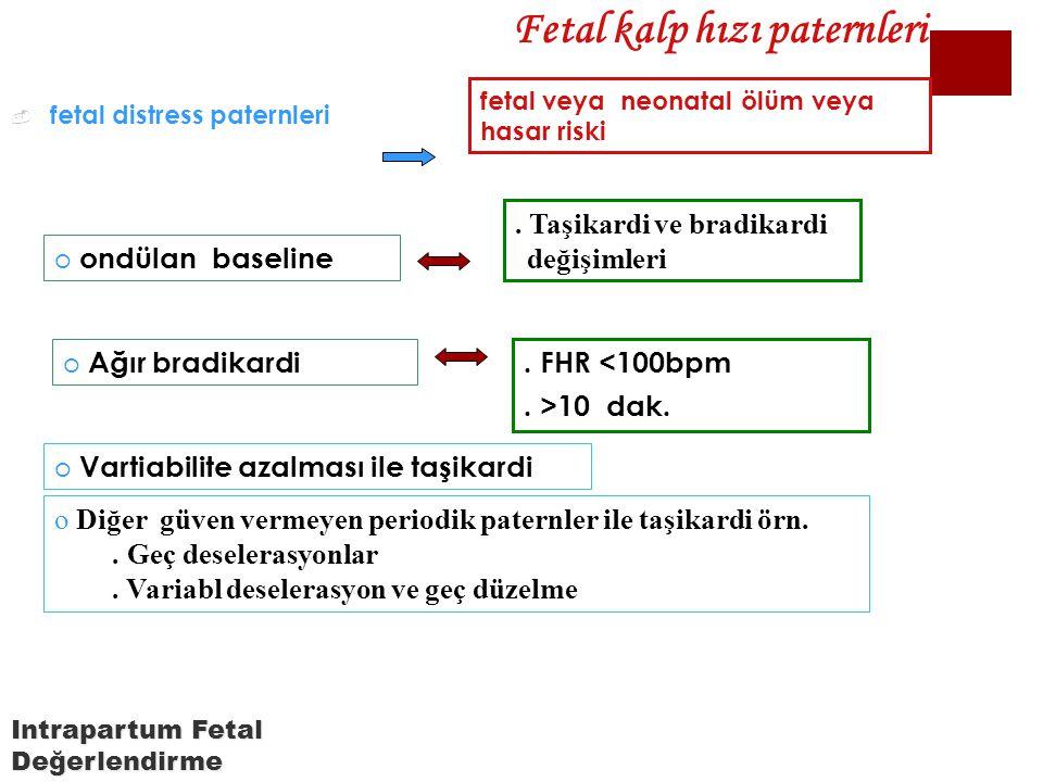  fetal distress paternleri. Taşikardi ve bradikardi değişimleri fetal veya neonatal ölüm veya hasar riski Fetal kalp hızı paternleri o ondülan baseli