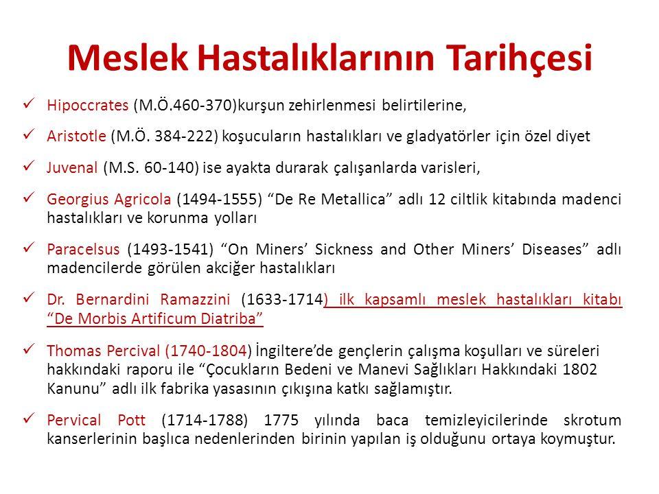 Meslek Hastalıklarının Tarihçesi Hipoccrates (M.Ö.460-370)kurşun zehirlenmesi belirtilerine, Aristotle (M.Ö. 384-222) koşucuların hastalıkları ve glad