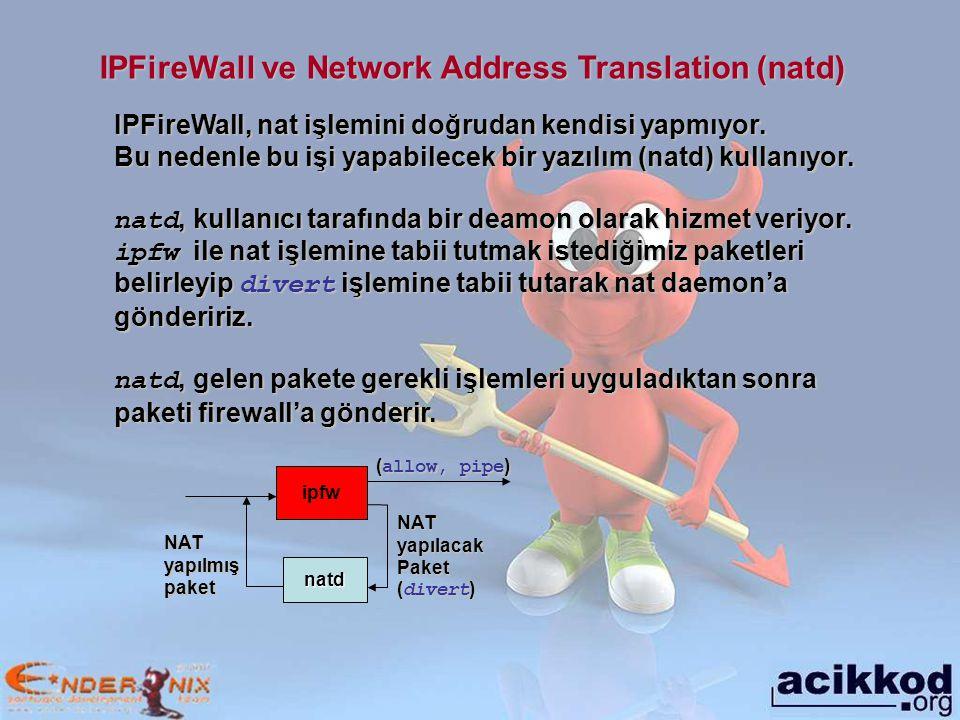 IPFireWall ve Network Address Translation (natd) IPFireWall, nat işlemini doğrudan kendisi yapmıyor.