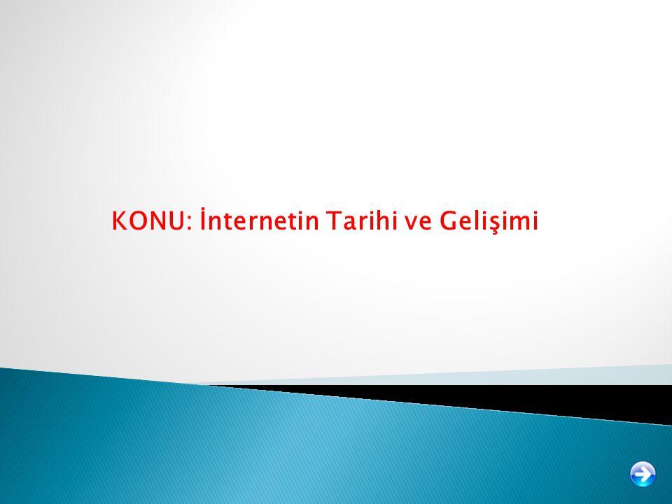 KONU: İnternetin Tarihi ve Gelişimi