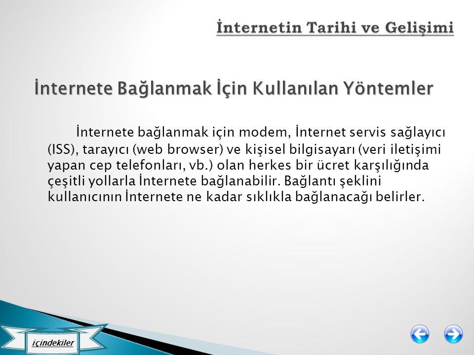 İnternete Bağlanmak İçin Kullanılan Yöntemler İnternete bağlanmak için modem, İnternet servis sağlayıcı (ISS), tarayıcı (web browser) ve kişisel bilgi
