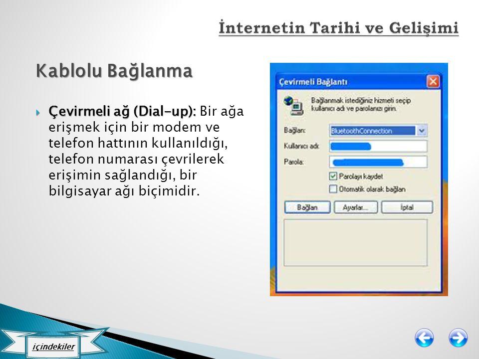 Kablolu Bağlanma  Çevirmeli ağ (Dial-up):  Çevirmeli ağ (Dial-up): Bir ağa erişmek için bir modem ve telefon hattının kullanıldığı, telefon numarası