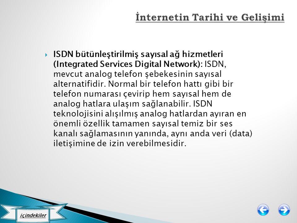  ISDN bütünleştirilmiş sayısal ağ hizmetleri (Integrated Services Digital Network): ISDN, mevcut analog telefon şebekesinin sayısal alternatifidir. N
