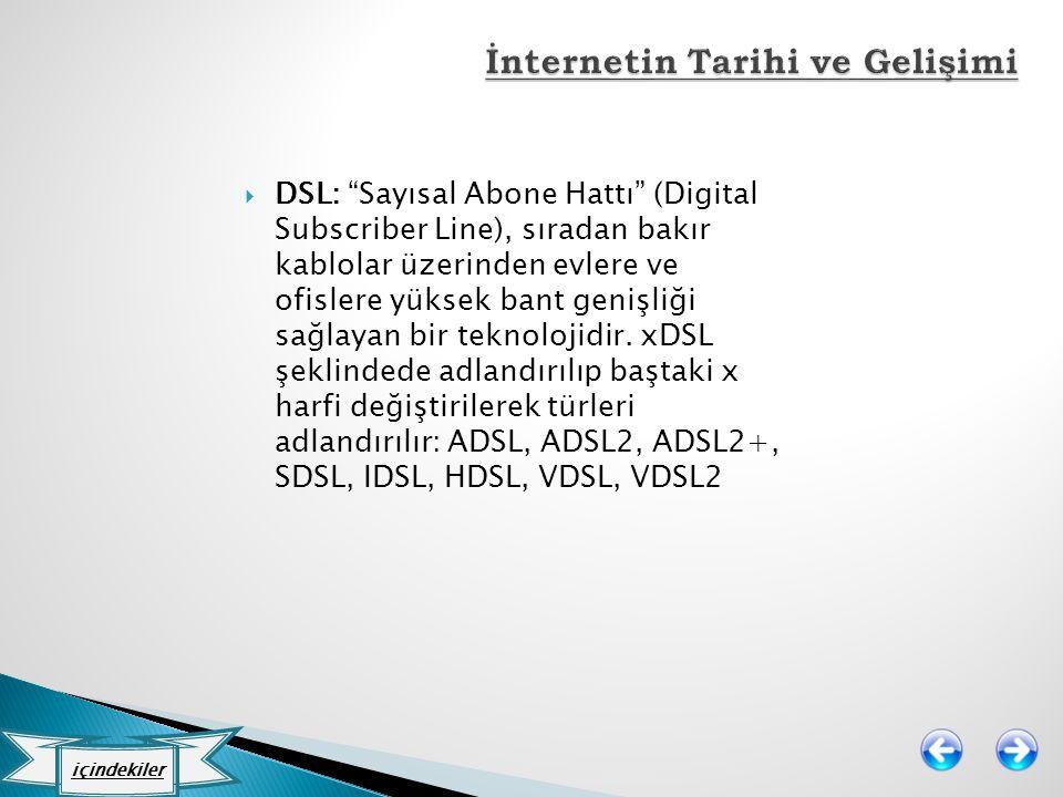 """ DSL: """"Sayısal Abone Hattı"""" (Digital Subscriber Line), sıradan bakır kablolar üzerinden evlere ve ofislere yüksek bant genişliği sağlayan bir teknolo"""