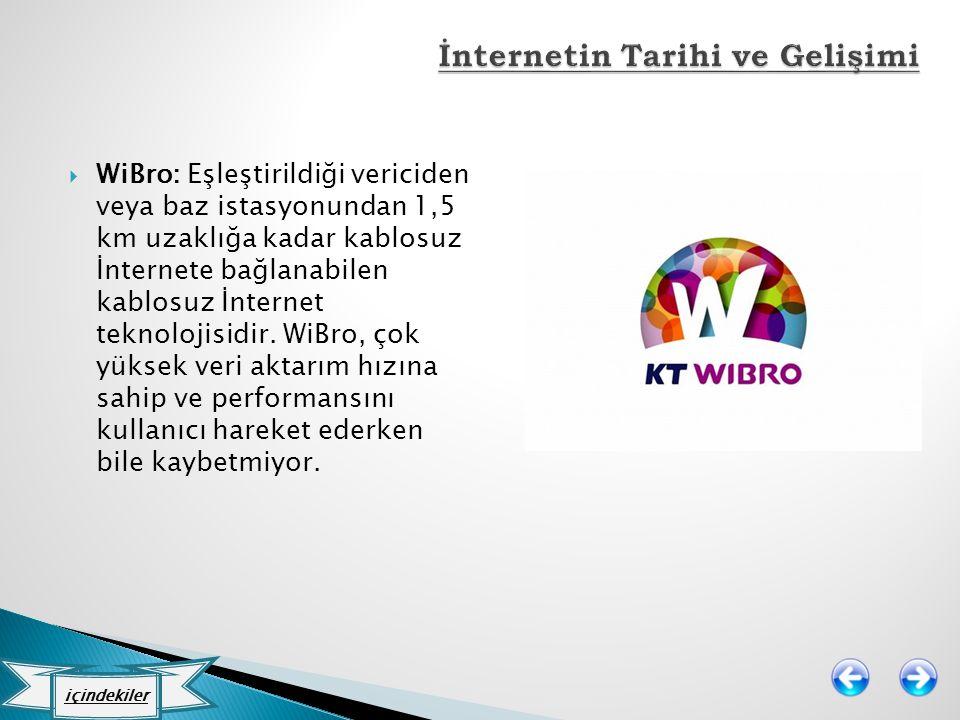  WiBro: Eşleştirildiği vericiden veya baz istasyonundan 1,5 km uzaklığa kadar kablosuz İnternete bağlanabilen kablosuz İnternet teknolojisidir. WiBro