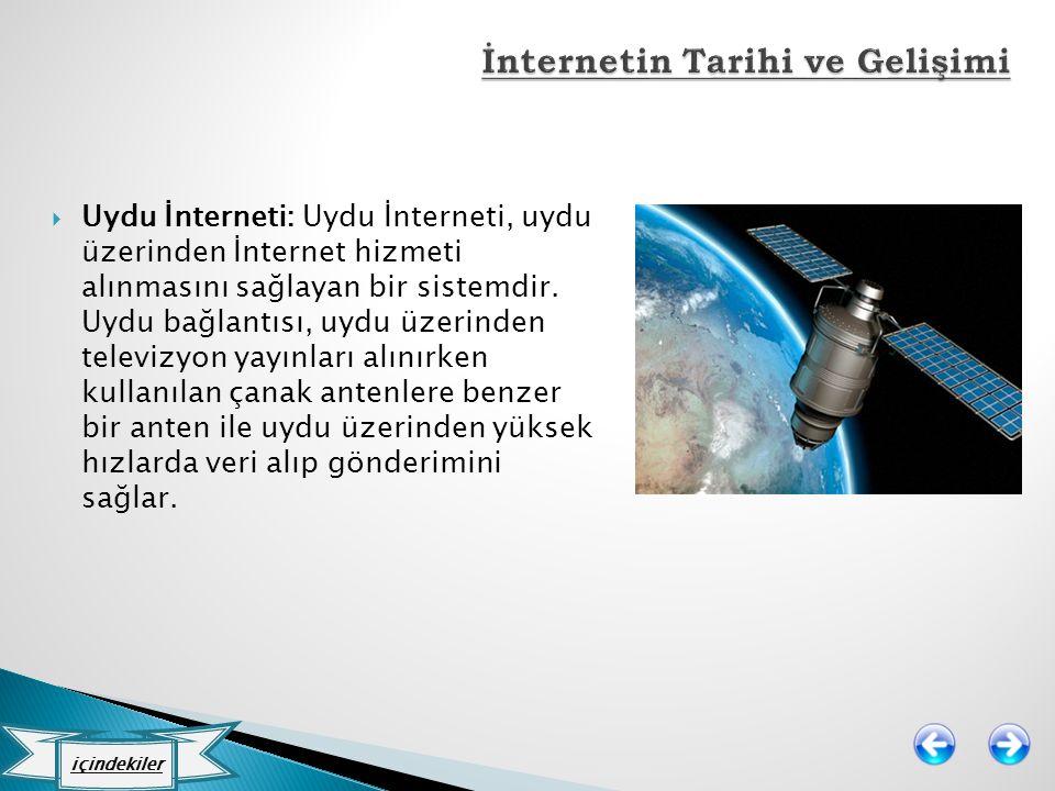  Uydu İnterneti: Uydu İnterneti, uydu üzerinden İnternet hizmeti alınmasını sağlayan bir sistemdir. Uydu bağlantısı, uydu üzerinden televizyon yayınl