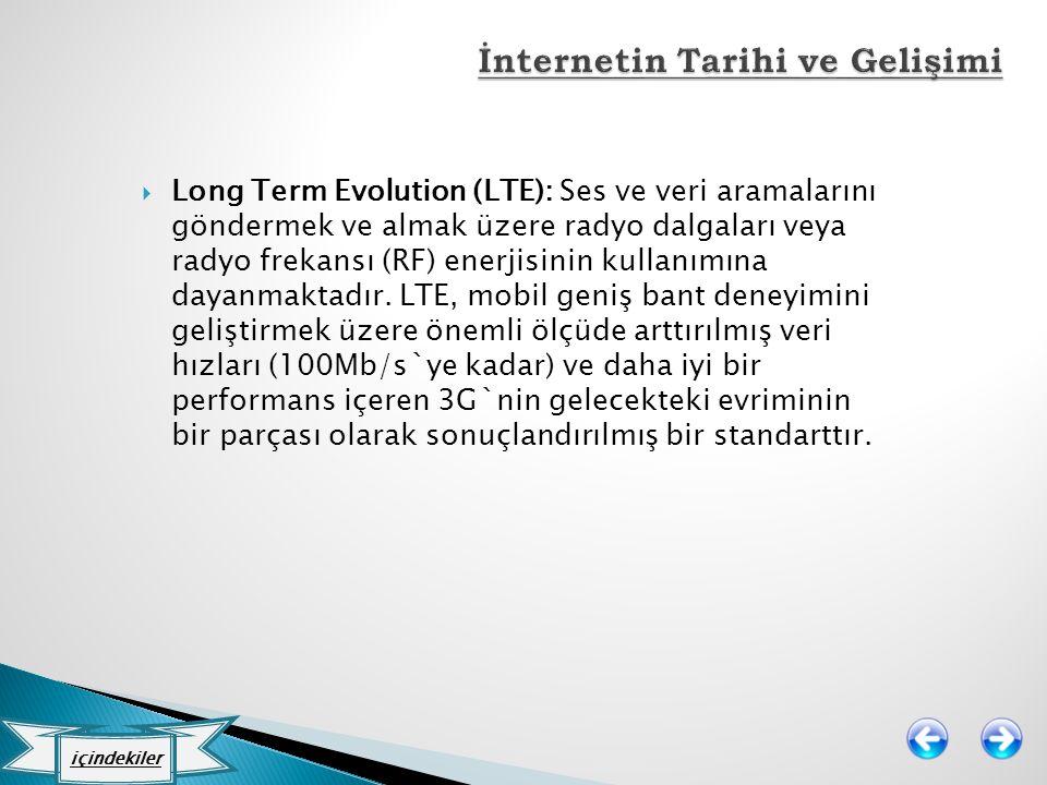  Long Term Evolution (LTE): Ses ve veri aramalarını göndermek ve almak üzere radyo dalgaları veya radyo frekansı (RF) enerjisinin kullanımına dayanma