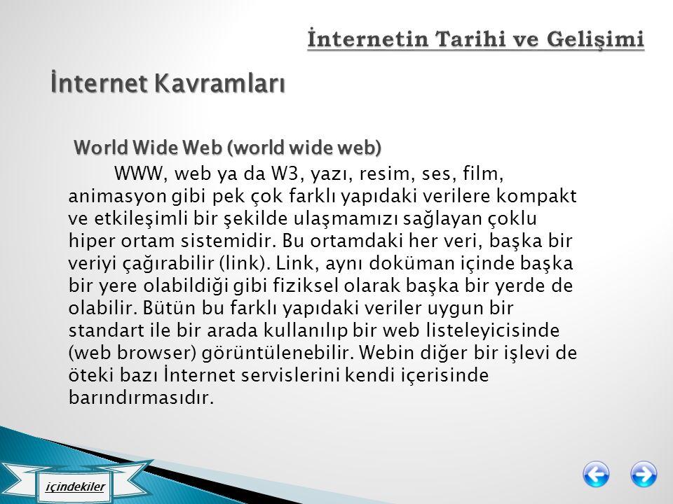 İnternet Kavramları World Wide Web (world wide web) World Wide Web (world wide web) WWW, web ya da W3, yazı, resim, ses, film, animasyon gibi pek çok