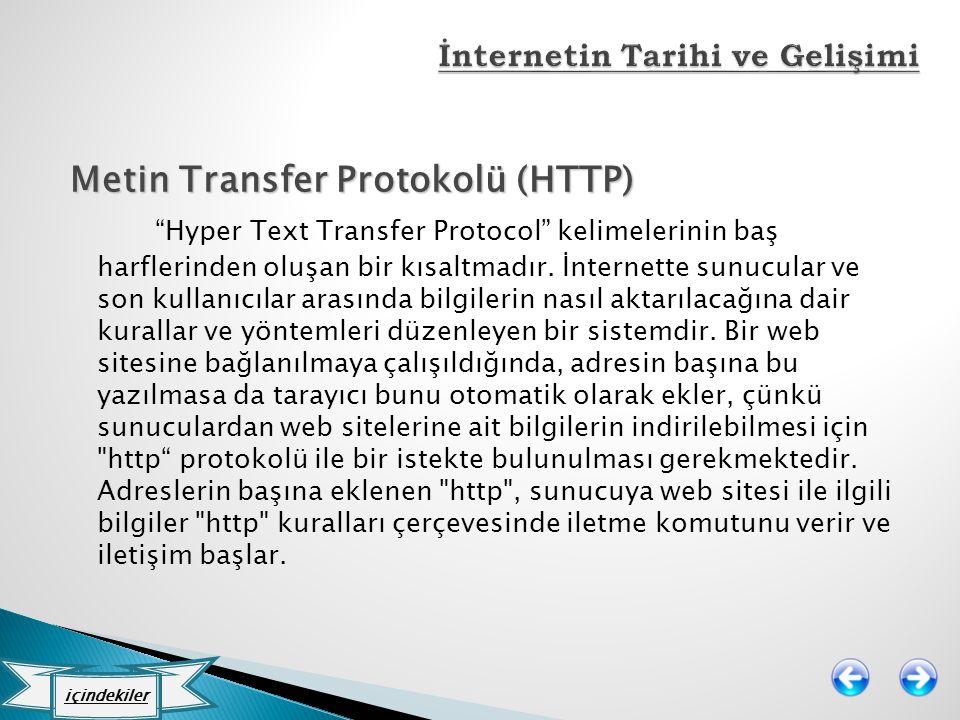 """Metin Transfer Protokolü (HTTP) """"Hyper Text Transfer Protocol"""" kelimelerinin baş harflerinden oluşan bir kısaltmadır. İnternette sunucular ve son kull"""