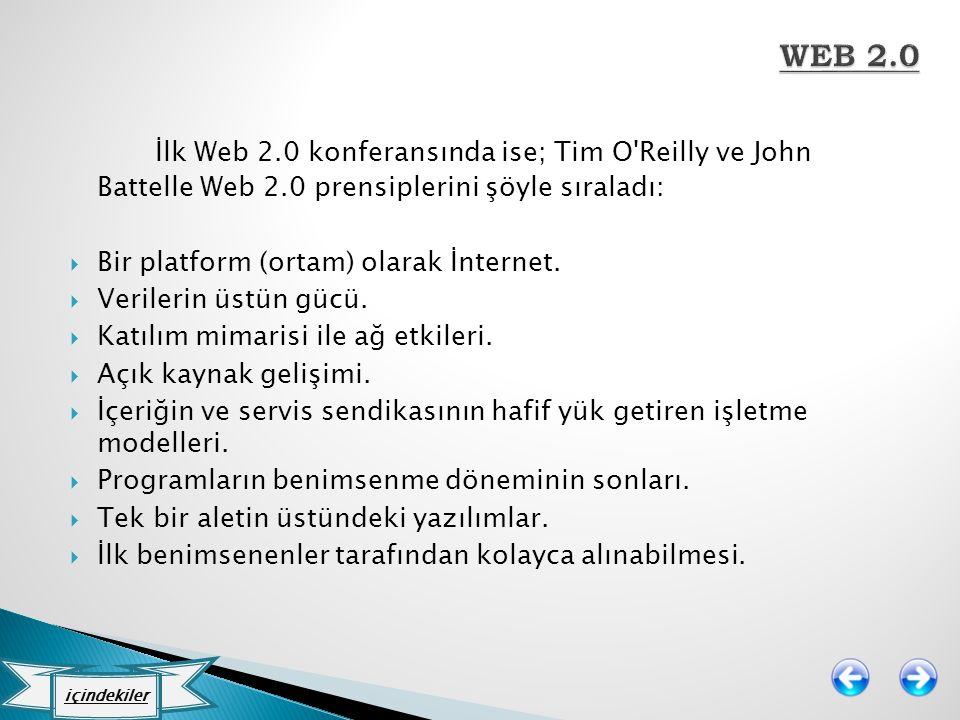 İlk Web 2.0 konferansında ise; Tim O'Reilly ve John Battelle Web 2.0 prensiplerini şöyle sıraladı:  Bir platform (ortam) olarak İnternet.  Verilerin