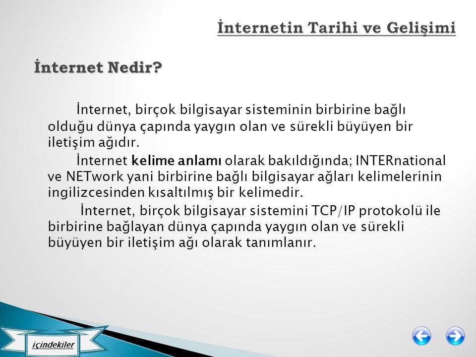 İnternet Nedir? İnternet, birçok bilgisayar sisteminin birbirine bağlı olduğu dünya çapında yaygın olan ve sürekli büyüyen bir iletişim ağıdır. İntern