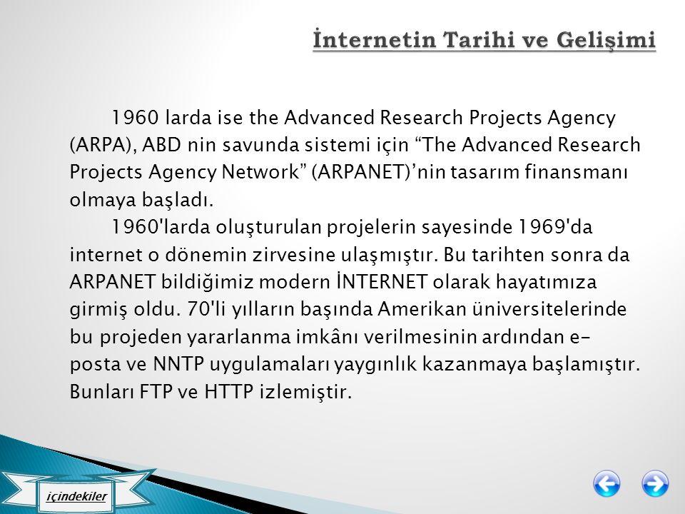 "1960 larda ise the Advanced Research Projects Agency (ARPA), ABD nin savunda sistemi için ""The Advanced Research Projects Agency Network"" (ARPANET)'ni"