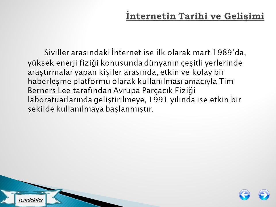 Siviller arasındaki İnternet ise ilk olarak mart 1989'da, yüksek enerji fiziği konusunda dünyanın çeşitli yerlerinde araştırmalar yapan kişiler arasın